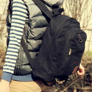 black travel rucksack