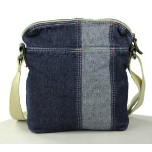 blue canvas leather satchel