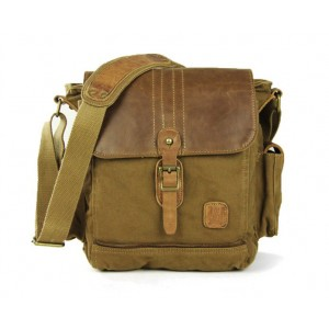 khaki small canvas shoulder bag