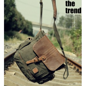 army green small canvas shoulder bag