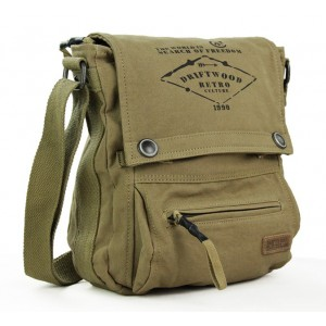khaki army canvas shoulder bag