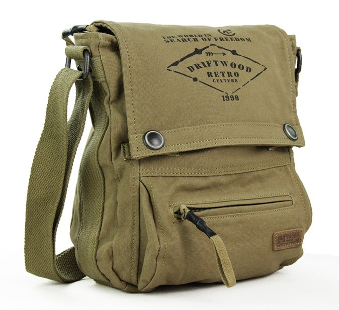 Canvas messenger bag, army canvas shoulder bag - YEPBAG