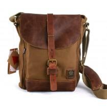 Leather and canvas messenger bag, canvas satchels for men