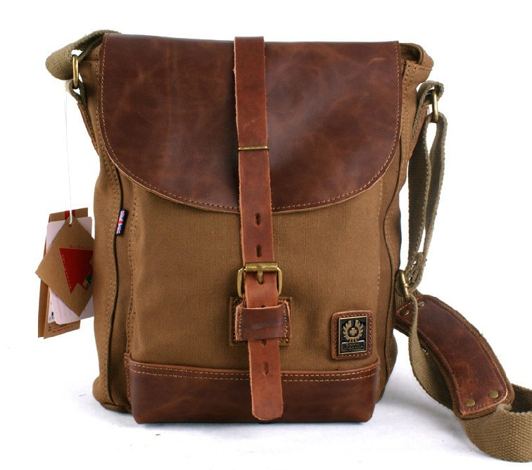 Leather and canvas messenger bag, canvas satchels for men - YEPBAG