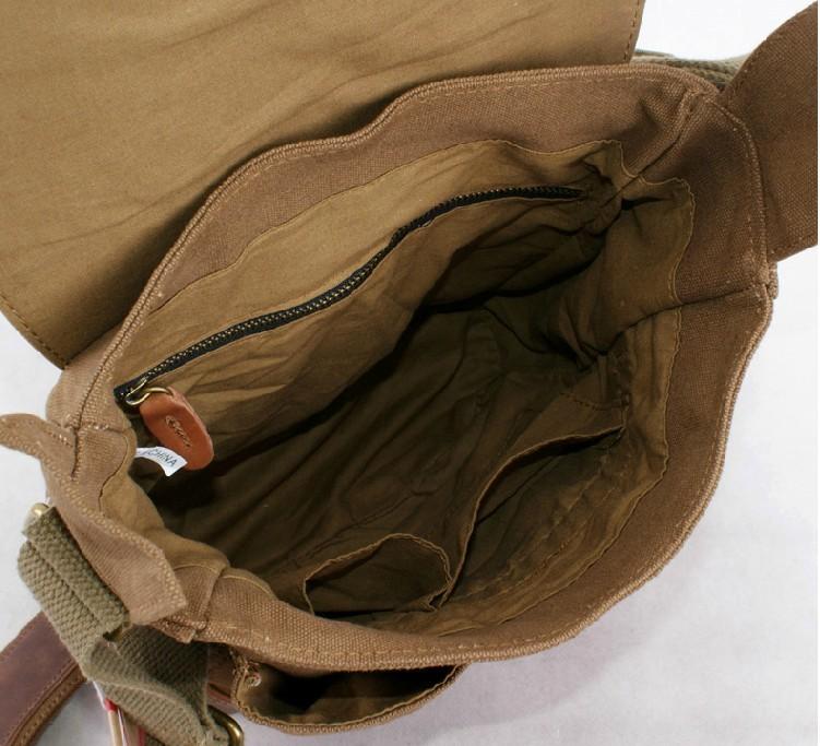 9aa2c6fbca ... vintage Leather and canvas messenger bag  retro canvas satchels ...