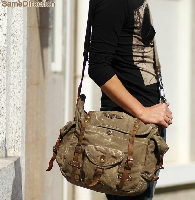 Canvas leather messenger bag, messenger bags for men canvas - YEPBAG