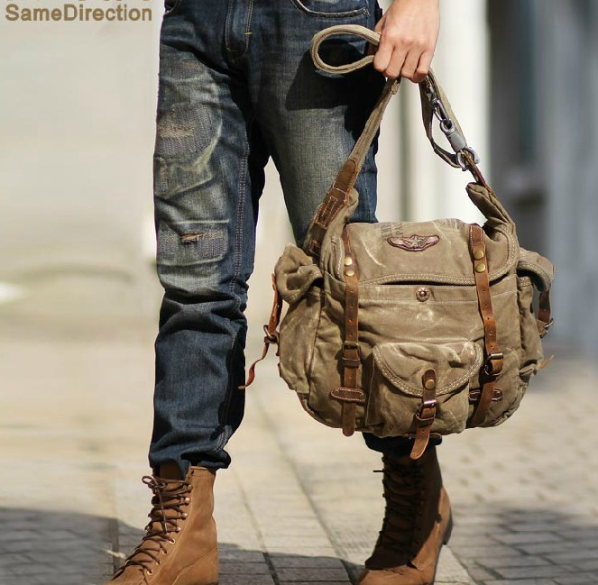 f564e608a2e7 ... mens Canvas leather messenger bag ...