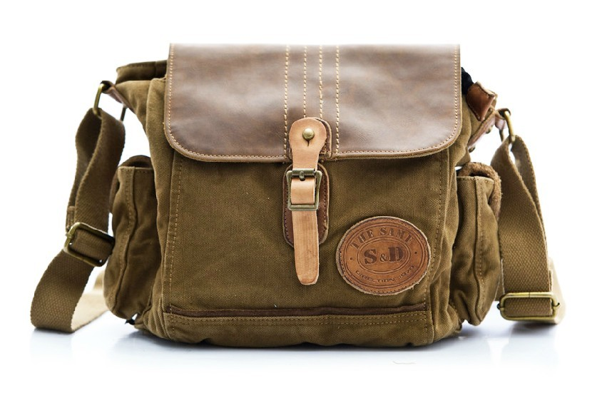 Mens canvas messenger bags, canvas and leather messenger bag - YEPBAG