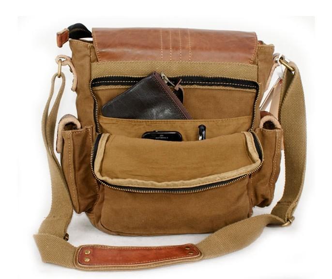 Mens canvas messenger bags, canvas and leather messenger bag - YEPBAG