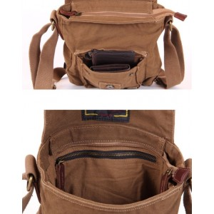 khaki Small canvas messenger bag