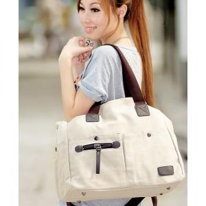 beige handbag canvas