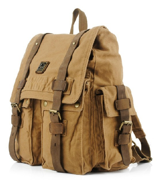 Canvas backpack school bag, canvas knapsack bag