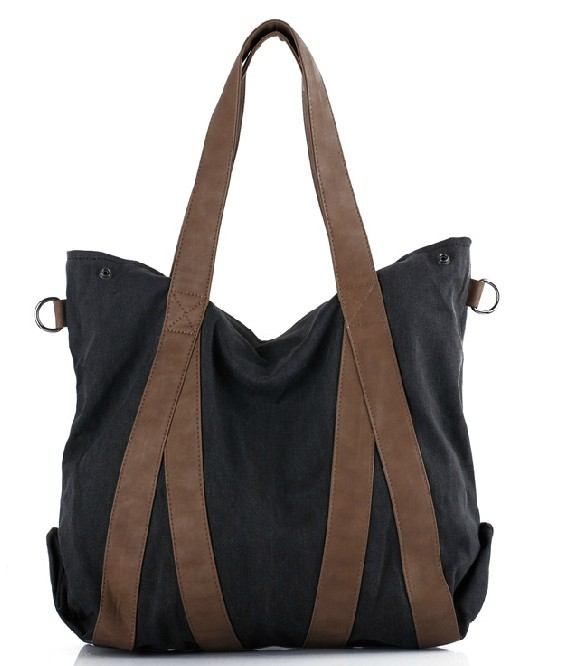 Trendy messenger bags, black canvas purse - YEPBAG