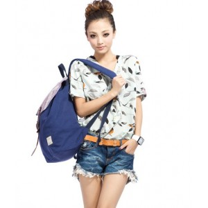 blue backpack style purse