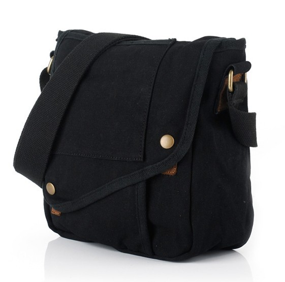 Black Shoulder Bags For Men Canvas Messenger