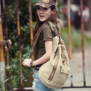 canvas backpack girl