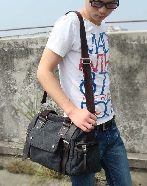 7e9e8b27747d ... men  black Stylish messenger bag ...