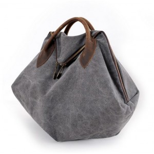 grey canvas over the shoulder bag