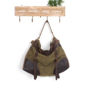 green Canvas shoulder bags for men