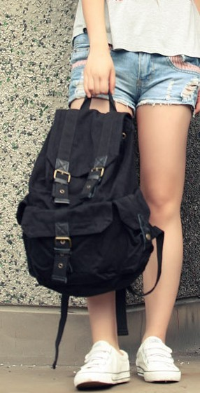 f275d41dce66 ... khaki quality backpack  black Fashionable canvas backpacks for women ...