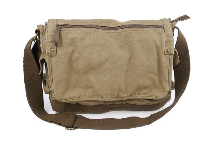 Khaki Over The Shoulder Book Bag