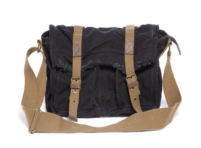 Black Canvas Bag Over Shoulder 8