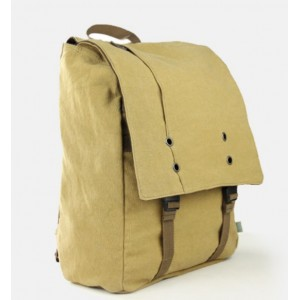 Canvas computer backpack for men khaki