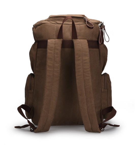 8b477ea77a ... coffee Canvas rucksack backpack for school  coffee style backpack ...
