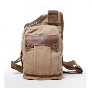 Mens single strap backpack, cotton canvas sling bag