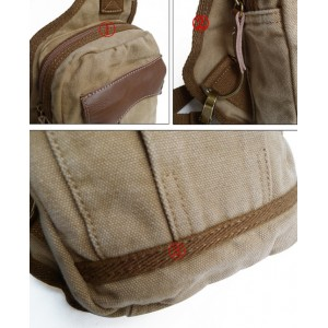 khaki Mens single strap backpack