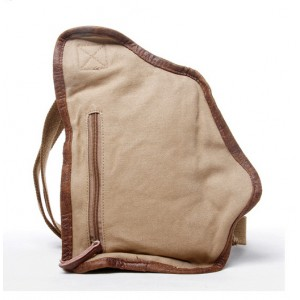 khaki cotton canvas sling bag