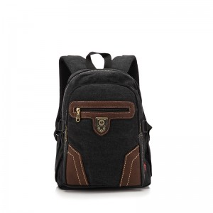 black vintage canvas rucksack