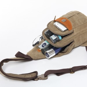 khaki Small sling backpack