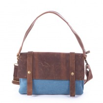 blue Leisure cowhide canvas bag