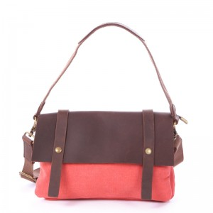 red Leisure cowhide canvas bag
