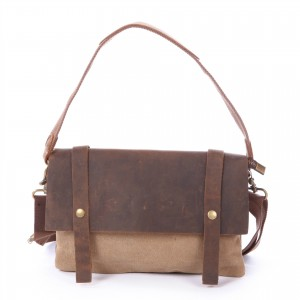 khaki Leisure cowhide canvas bag