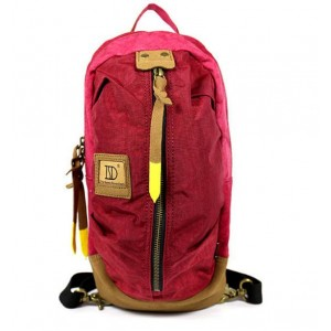 red Canvas Backpack Style Purse