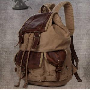 khaki Mens Retro Drawstring Backpacks