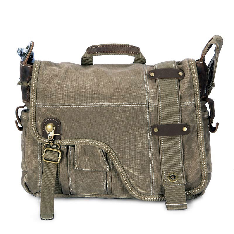 Army green Messenger bag, IPAD personalized canvas bags - YEPBAG