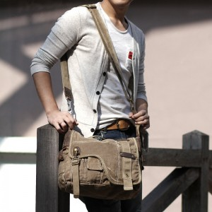 Army green Messenger canvas bags