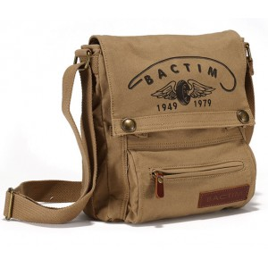 khaki canvas shoulder bag