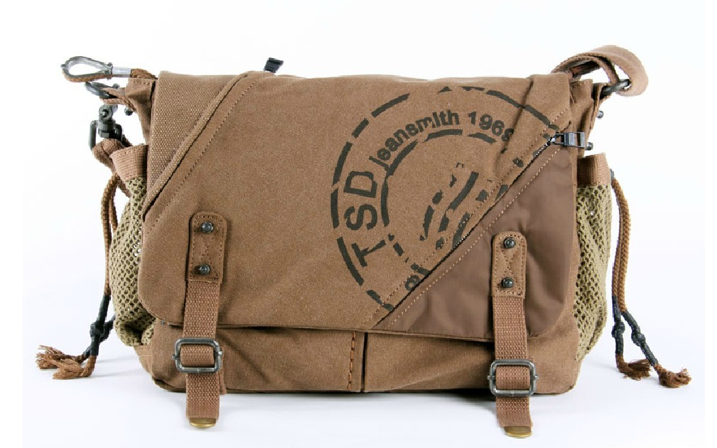 Khaki Canvas Satchel Book Bag