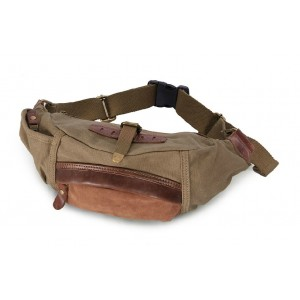 Natural canvas fanny pack, stylish men canvas waist bag