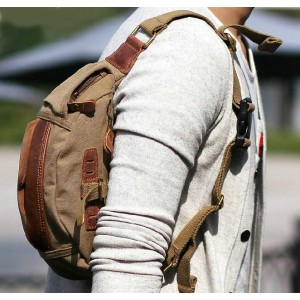 khaki stylish men canvas waist bag