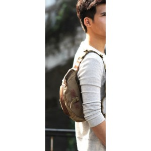 khaki men canvas waist bag