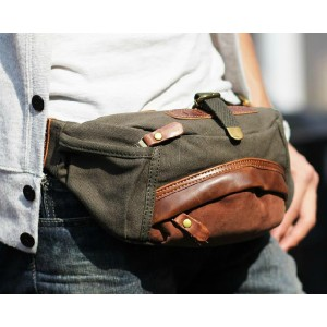 army green stylish men canvas waist bag