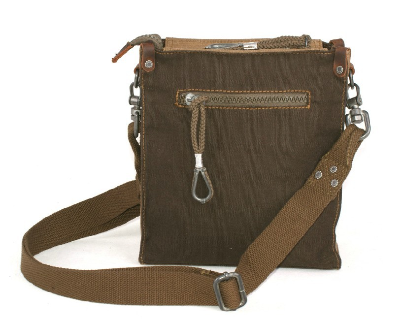 Canvas and leather satchel, small canvas messenger bag - YEPBAG