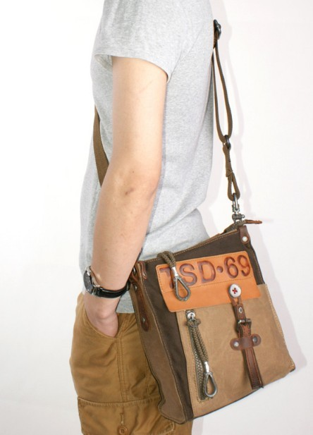 0fa168572e4 Canvas and leather satchel, small canvas messenger bag - YEPBAG