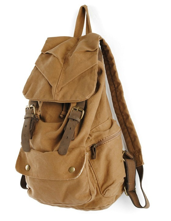 Leather and canvas backpack, mens backpack - YEPBAG