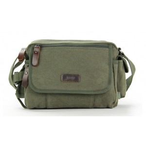 army green Mens canvas and leather shoulder bag